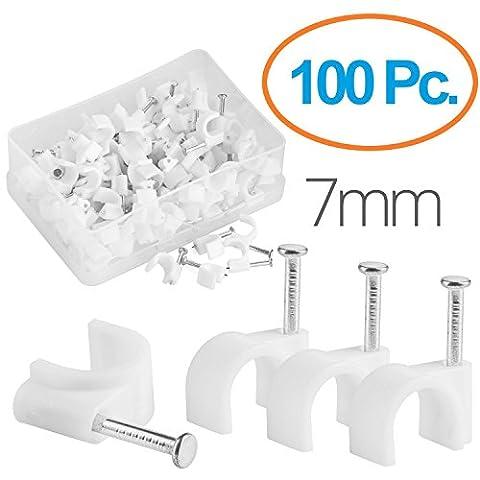MutecPower Kabelschelle 7mm rund Nagelschelle Weiß - 100 Stück