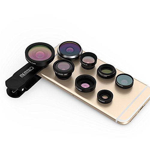 MEMTEQ Universal 8 in 1 Clip-on Cell Phone Lens kit, 235° Super Fisheye + Wide Angle + Macro Camera Lens + EXT barlow 2X + CPL polarizer for Smart Mobile Phone/Notebook PC/iPad (Black)