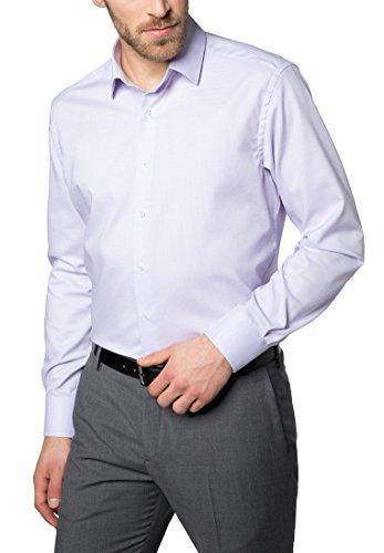Eterna Long Sleeve Shirt Modern Fit Natté Structured lillà/bianco