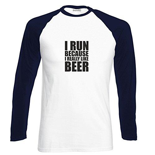 Brand88 - I Run Because I Really Like Beer, Langarm Baseball T-Shirt Weiss & Dunkelblau