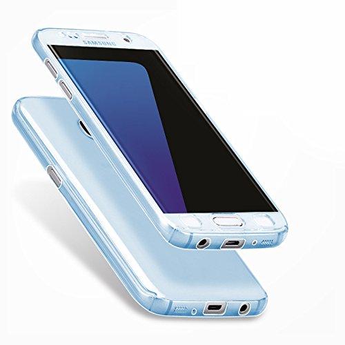 Minto Crystal TPU Full Body 360 ° Hülle iPhone 7 Plus Silikon Case Cover Etui Tasche - transparent Komplett Schutzhülle Hellblau