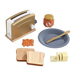 KidKraft- Kit de tostadora de juguete de madera (accesorio para cocinas de juguete), Color Oro (53536 )