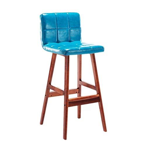 Melody Zuhause Bar Chair Massivholz Hochstuhl mit Kissen und Rückenlehne, Outdoor Lounge Chair in DREI Farben stabil (größe : Blau) (Kissen Outdoor-hochstuhl)