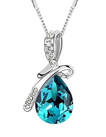 FANSING Schmuck Luxus Österreichischer Kristall Halskette Anhänger für Damen Mädchen Blau (Österreichischen Kostüm Puppen)