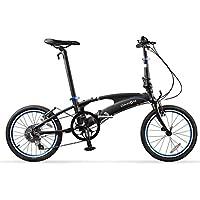 Monociclos Bicicleta Plegable Bicicleta Unisex 18 Pulgadas Juego de Ruedas 8 velocidades de Velocidad Variable Ultraligera Bicicleta de aleación de Aluminio (Color : Black, Size : 149 * 33 * 107cm)