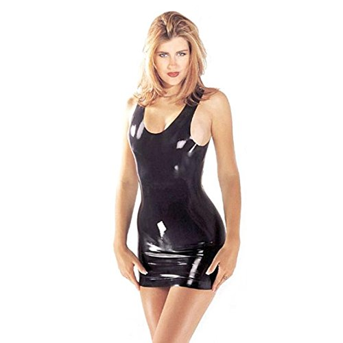 Sharon Sloane Latex Mini Dress, Black, Small, 205 g