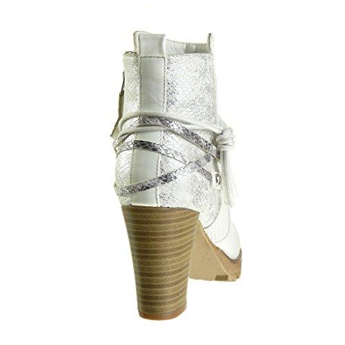 Angkorly Scarpe Moda Stivaletti Scarponcini Cavalier bi-Materiale Donna Pelle di Serpente Nodo Camouflage Tacco a Blocco Alto 8 cm Bianco