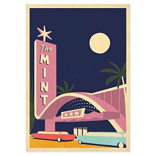 Reiseplakat, Las Vegas, USA, Nevada, Kasino, Mint, Retro-Kunstdruck, amerikanische Landschaft, Palmen, Travel Poster, Reise -
