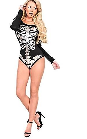 Women's Ladies Skeleton Print Leotard Playsuit Onesie Dress Up Hallloween