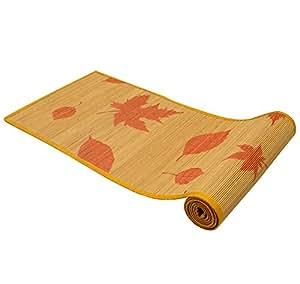 Bamboo Dining Table Runner/ Center Table Runner (ORANGE Maple Leaf Print), Size : 30 x 135 Cms