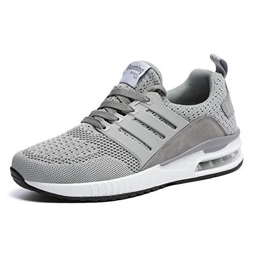 JUXINCHI Herren Damen Sneakers Bequeme Atmungsaktiv Laufschuhe Schnürer Air Profilsohle Sportschuhe Luftpolster Turnschuhe Fitness Leichte Grey 41 EU