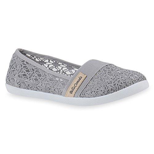 Bequeme Damen Slipper Slip-ons Sportliche Flats Stoff Prints Glitzer Freizeit Schuhe 142480 Grau Muster Amares 39 | Flandell®