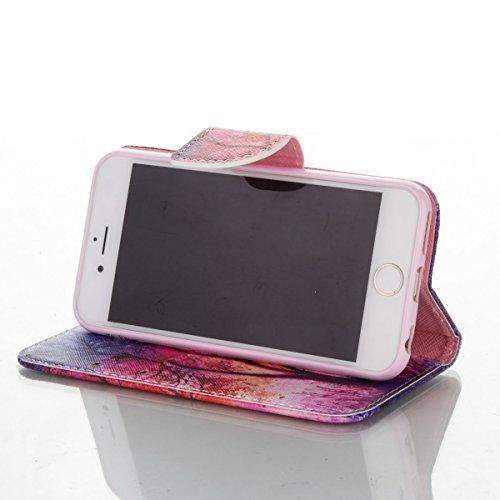 Handyhülle für Apple iPhone 6/6s 4.7 Zoll, Ekakashop Ledertasche Schutzhülle im Bookstyle für iPhone 6s, Rote Feder Muster Leder Tasche Handytasche Zubehör Portemonnaie mit Kartensteckplätze für iPhon Rot Baum