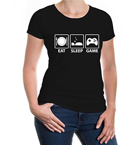 buXsbaum® Girlie T-Shirt Eat Sleep Game Black-White
