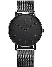 Alienwork IK All Black Unisex-Uhr Edelstahl Milanaise-Armband schwarz 98469G-L-01