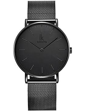[Gesponsert]Alienwork IK All Black Herren/Damen-Uhr Edelstahl Milanaise-Armband schwarz 98469G-L-01