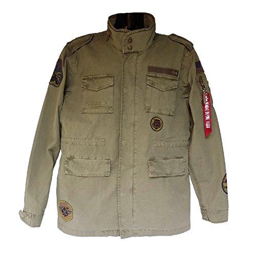 Alpha Industries Feldjacke Huntington Patch leichte Jacke aus Baumwolle mit dünnem Sommer Innenfutter und vielen Taschen