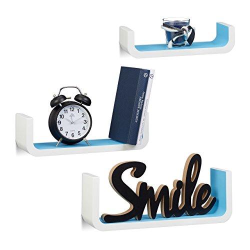 Relaxdays 1001810_361 set 3 mensole da parete, a forma di u, legno, larghezza 10 cm, lunghezza 40 cm, bianco-blu