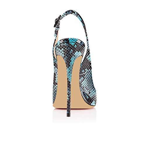 120mm Schuhe Edefs Toe Peep Zehe Stiletto blau Mit Öffnen Heels High Damenschuhe Slingback Schnalle Sandalen Python O5fwWxq5pr