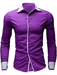 Hombre Camisas Moda Manga Larga de Color Puro para Hombre Men Fashion Slim  Fit Casual Long 83d2776d456e4