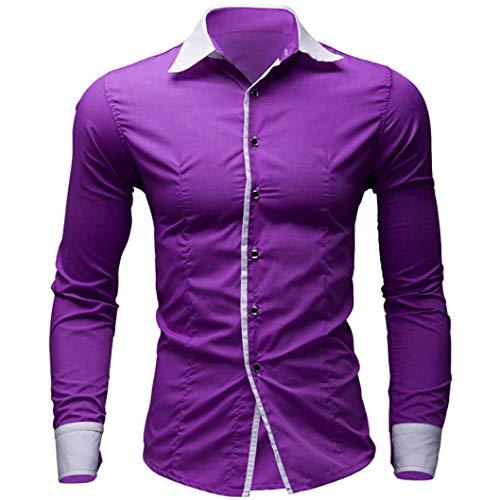 Hombre Camisas Moda Manga Larga de Color Puro para Hombre Men Fashion Slim Fit Casual Long Sleeves Shirts 2028