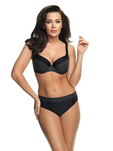 Gorsenia attraktiver Bikini mit Bügel in großen Größen (C-Cup bis H-Cup) mit vorteilhaftem Schnitt, Bikini Schwarz/Weiß gepunktet, Gr. 85F - D-cup Bügel Bademode
