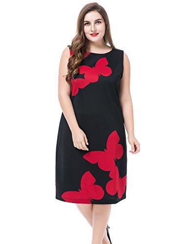 Stretch Denim Tank Dress (Chicwe Damen Kleid Große Größen mit rückseitigem Metallreißverschluss Schmetterlings Aufdruck 48, Schwarz)
