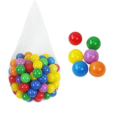 Monsieur Bébé ® Pack of 100 play balls or ball pool multicolor Ø 5,5 cm + Storage mesh - Standard CE