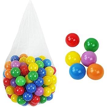 Monsieur Bébé ® Lot de 200 balles de jeu ou de piscine multicolores Ø 5,5 cm + Filet de rangement - Norme CE