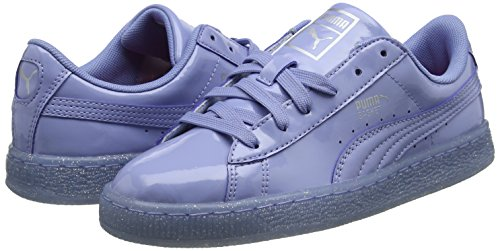 Puma Unisex Kids  Basket Patent Iced Glitter Jr Low-Top Sneakers  Blue Lavendar Lustre 02  4 UK