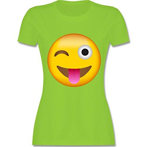 Shirtracer Comic Shirts - Emoji Herausgestreckte Zunge - Damen T-Shirt Rundhals Hellgrün