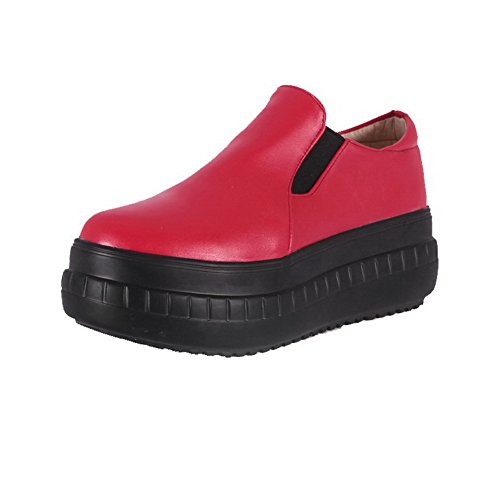 VogueZone009 Femme Matière Souple Rond à Talon Correct Tire Couleur Unie Chaussures Légeres Rouge