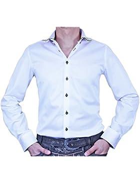Maddox Slim Fit Trachtenhemd Markus - Weiß Grün - Herrenhemd Oberhemd zur Lederhose