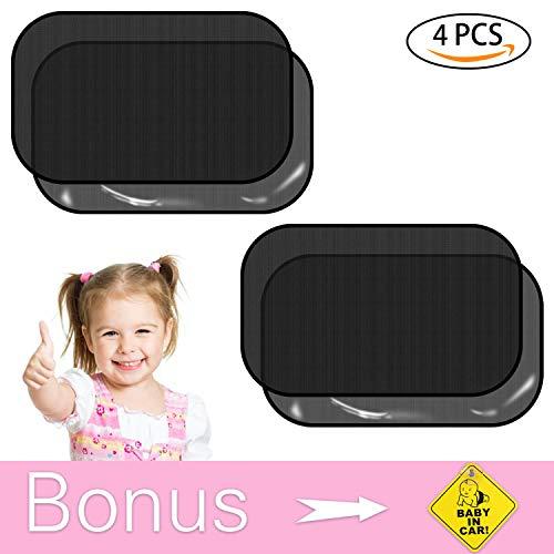 Sonnenschutz Auto, Auto Sonnenschutz Baby mit UV Schutz Sonnenblenden für Kinder Sonnenschutz für Seitenscheibe Sonnenschutz für Heckscheibe Schwarz 4 Stück (51 x 31cm)