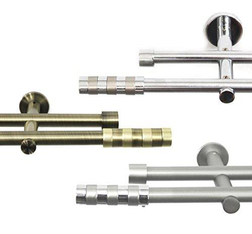 Rollmayer glänzend Metall Gardinenstange aus Edelstahl Ø 16mm Rohr, Antik Chrom für Ösenvorhang,...