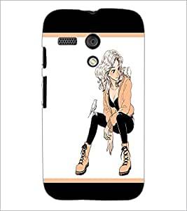 PrintDhaba Smart Girl D-1297 Back Case Cover for MOTOROLA MOTO G (Multi-Coloured)
