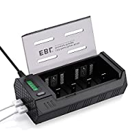 EBL LCD Ni-MH Ni-CD C D 9V AA AAA Battery Charger with 2 USB Ports, Discharge Function (USB Cables Not Included)