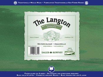 Daler Rowney: Langton Block: 12 Hojas para acuarelas, Espiraladas, 16x12in (300gsm) NOT (Sin Textura)