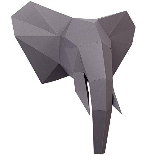 t Ausgeschnitten, vorgefalzt und Ohne kleben - Tierkopf Wand-Deko aus FSC-Papier in 3 Farben Elefanten-Kopf Maße 44 x 43 x 23 cm. Made in Germany (Urban Grey) ()