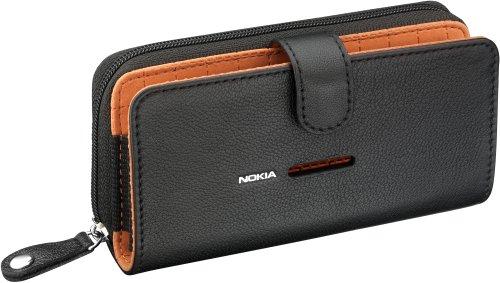 Nokia CP-502 Universal Leder Handytasche schwarz/orange