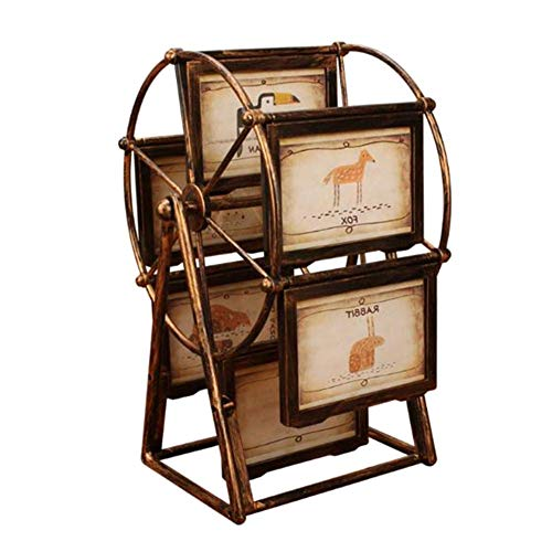 Golden.Y Baby-Fotorahmen mit 12 Fotoshows für 5-Zoll-Fotos, rotierender Riesenrad-Fotorahmen, Windmühlen-Riesenradform mit Glasfront, Babys Bilderrahmen für das erste Jahr des Andenken