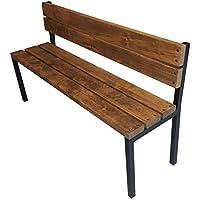 Panchina panca panchetta esterno interno in legno 150x38.5x50h + 90h impregnato noce scuro