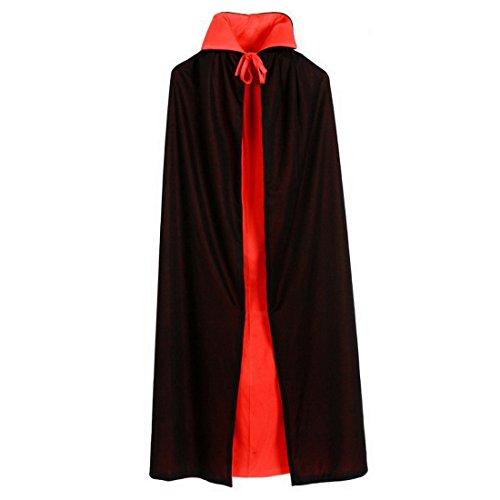 Kind Halloween Vampir Cape Cosplay Doppelseitig Rot Schwarz Kapuzenumhang Kostüm (Schwarzer Teufel Für Halloween)