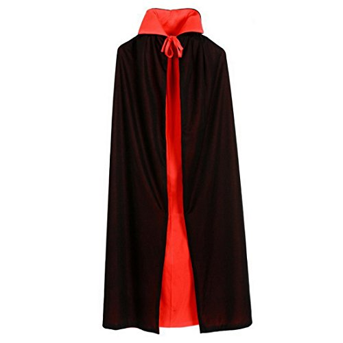 Aelegant Erwachsene/Kind Halloween Vampir Cape Cosplay Doppelseitig Rot Schwarz Kapuzenumhang Kostüm (Cape Schwarz Kind)