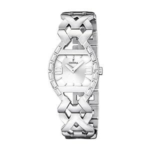 Festina F16548/1 - Reloj analógico de cuarzo para mujer con correa de acero inoxidable, color plateado de Festina