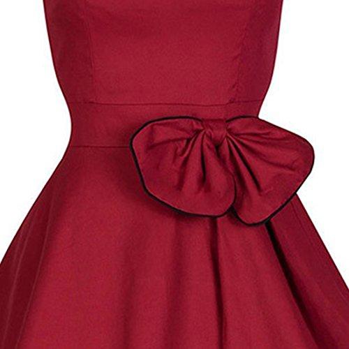 M-Queen Femme Sans Manches Rétro A-Line Jupe Taille Haute Plissée Soiree Cocktail Rockabilly Mini Robe Rouge