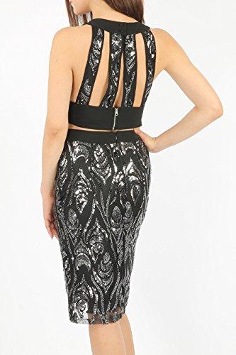 Ladies Evening Sequin Panelled Bralet Top EUR Size 36-42 Noir