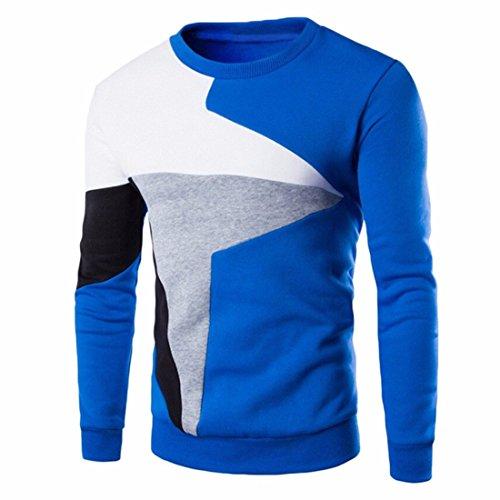 Men's Cotton Blend Long Sleeve O Neck Patchwork Color Sweatshirts blue
