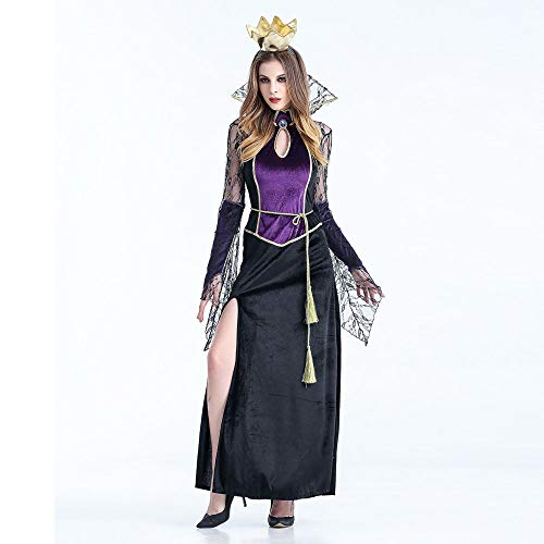 Deman outfit-Artistic9 Evil Queen Kostüm Frauen Sexy Lace Langarm Wicked Vampire Queen Kleid Strappy Split Maxi Kleider mit Haarband Halloween Theme Party Maskerade Cosplay Dress up (Pink Unicorn Hoodie Für Erwachsene Kostüm)