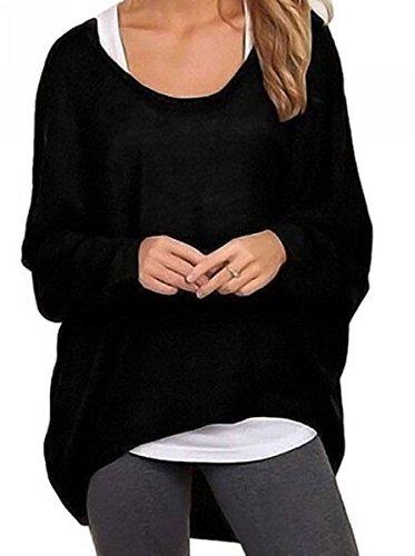 Meyison Damen Lose Asymmetrisch Sweatshirt Pullover Bluse Oberteile Oversized Tops T-Shirt Schwarz L
